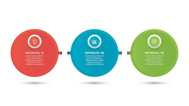 Biznesowy Infographic Szablon Z 3 Krokami Premium Wektorów