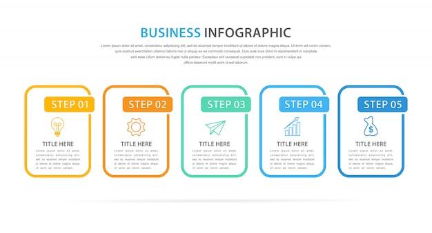 Biznesowy infographic szablon z 5 opcją lub krokiem Premium Wektorów