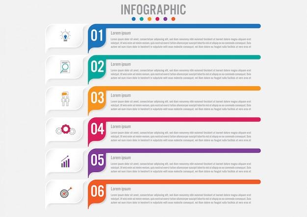 Biznesowy Infographic Szablon Z 6 Opcjami Premium Wektorów