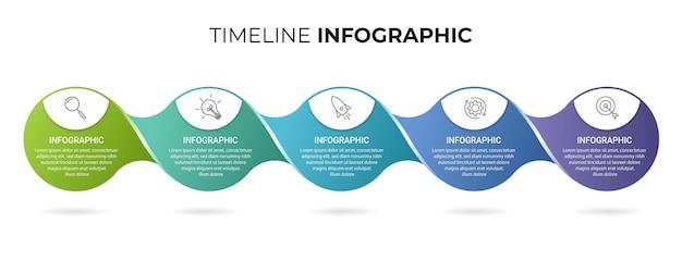 Biznesowy Infographic Szablon Z Ikonami I Liczbami 5 Opcje Lub Kroki Premium Wektorów