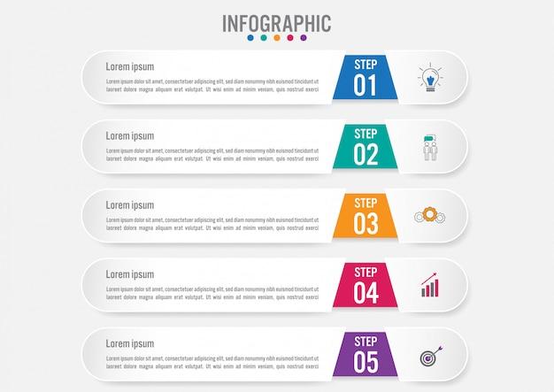Biznesowy infographic sztandaru szablon z 5 opcjami Premium Wektorów
