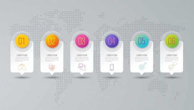 Biznesowy infographic z krokami i opcjami Premium Wektorów
