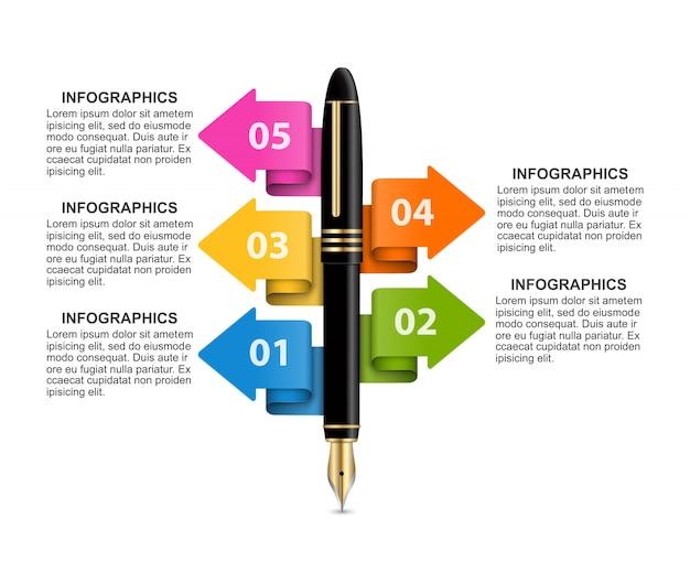 Biznesowy Infographics Szablon. Premium Wektorów