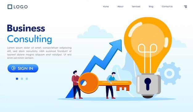 Biznesowy Konsultacyjny Lądowanie Strony Strony Internetowej Ilustraci Wektor Premium Wektorów