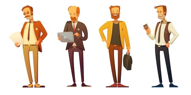 Biznesowy mężczyzna kod ubioru 4 retro kreskówek ikony ustawiać z biznesmenami Darmowych Wektorów