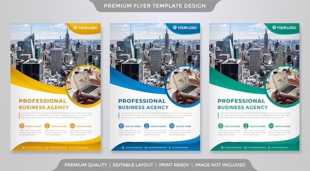 Biznesowy Minimalistyczny Szablon Ulotki Premium Wektorów