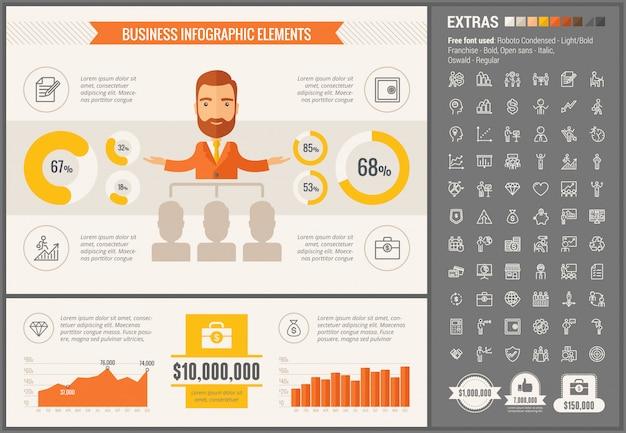 Biznesowy płaski projekta infographic szablon Premium Wektorów