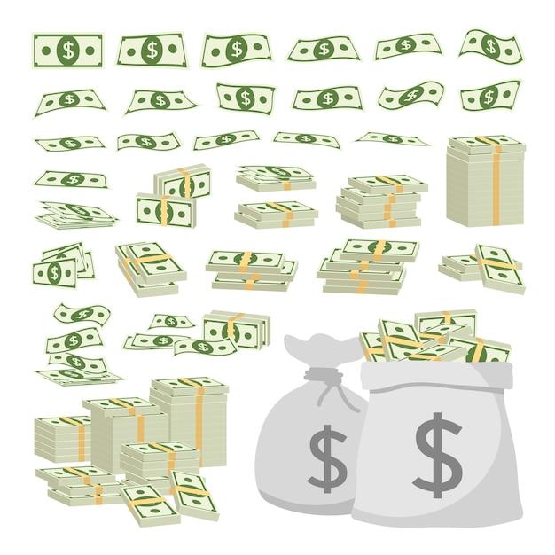Biznesowy Pojęcie Set Dolarowego Znaka Pieniądze Odizolowywający Na Białym Tle Premium Wektorów