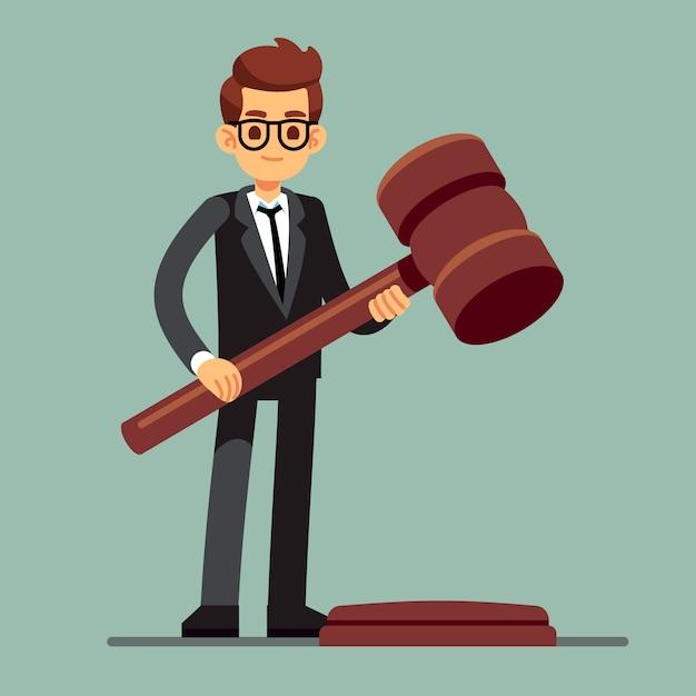 Biznesowy Prawnik Trzyma Drewnianego Sędziego Młoteczek Premium Wektorów