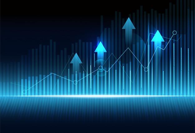 Biznesowy świeczka kija wykresu wykres inwestorski rynek papierów wartościowych handlowanie na zmroku - błękitny tło. Premium Wektorów