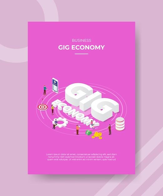 Biznesowych Gig Ekonomicznych Ludzi Stojących Wokół Celu Danych Smartfonów Gig Ekonomii Darmowych Wektorów