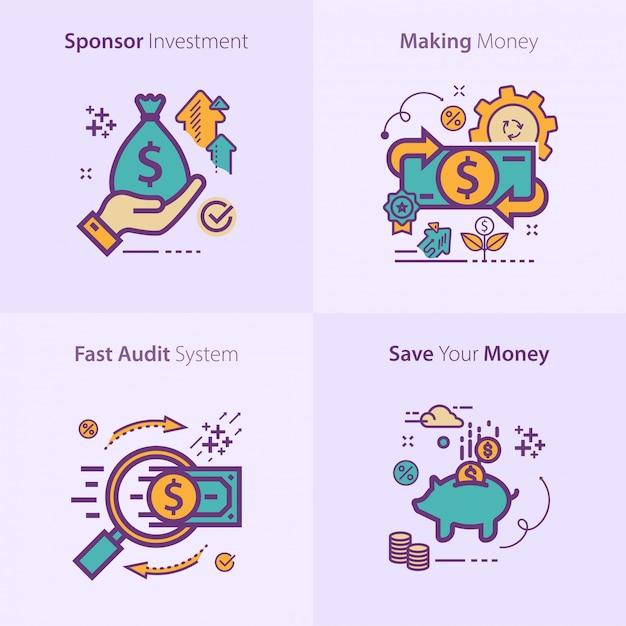 Biznesu I Finansów Ikony Ustalony Pojęcie Premium Wektorów