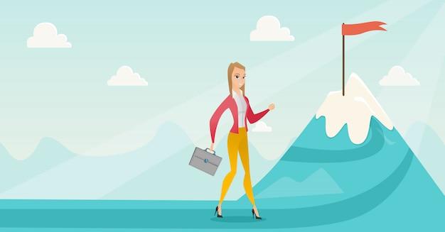Bizneswoman biega jej biznesowy cel. Premium Wektorów
