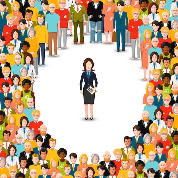 Bizneswoman pozostał oprócz tłumu, płaska ilustracja na bielu Premium Wektorów