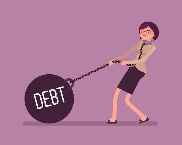 Bizneswoman przeciąga ciężar dług na łańcuchu Premium Wektorów