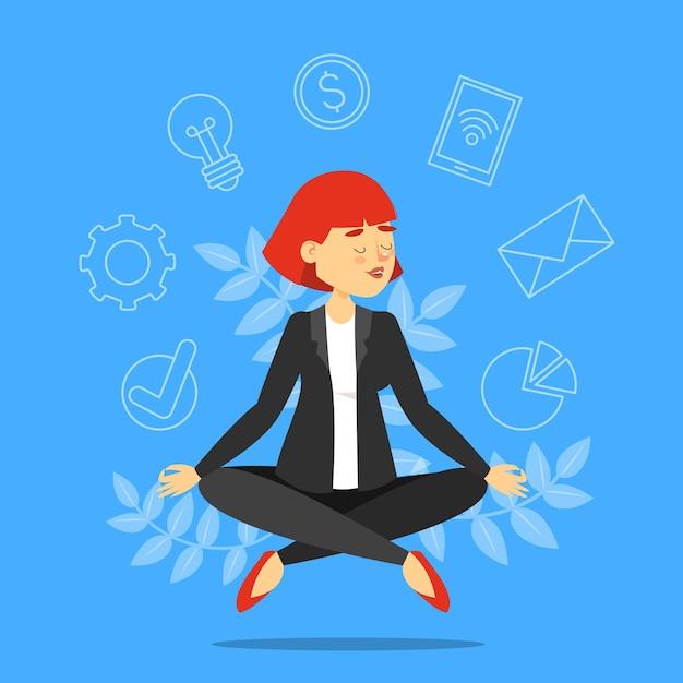 Bizneswoman W Pozycji Lotosu Medytacji. Premium Wektorów