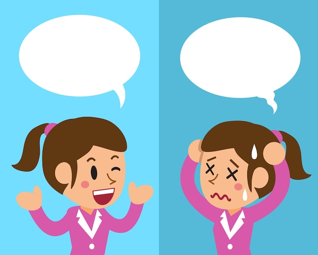 Bizneswoman Wyraża Różne Emocje Premium Wektorów