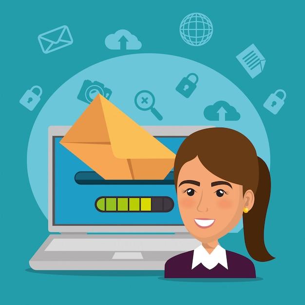 Bizneswoman z e-mailowymi marketingowymi ikonami Darmowych Wektorów