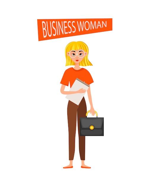 Bizneswomanu charakteru pracujący charakteru projekta set. Premium Wektorów