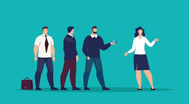 Bizneswomanu spotkanie z partnerami płaskimi Premium Wektorów