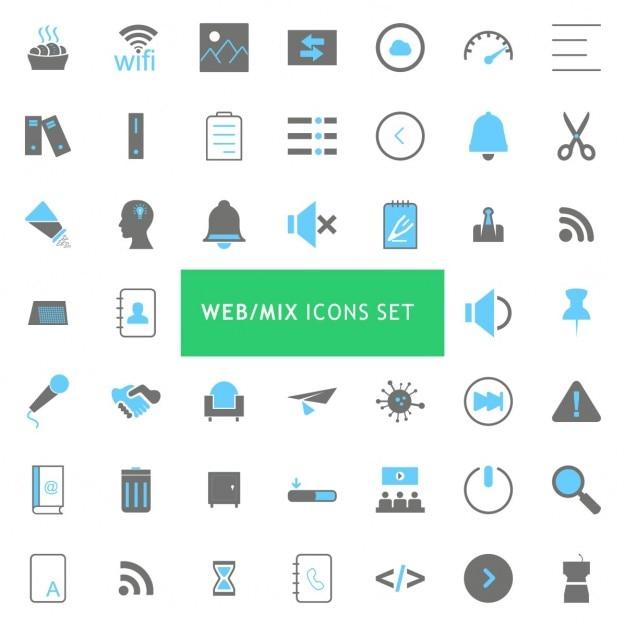 Black And Blue Mix Icon Set Darmowych Wektorów