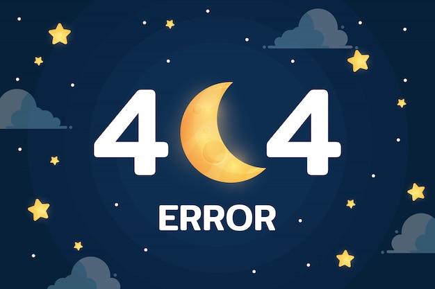 Błąd 404 z wektorem księżyca, chmury i gwiazd na nocnym niebie Premium Wektorów