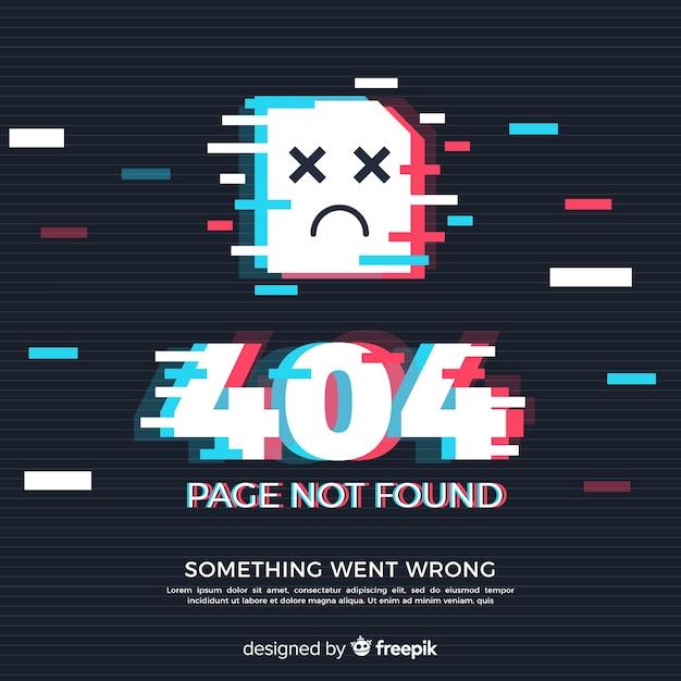 Błąd glitch 404 strony tła Darmowych Wektorów