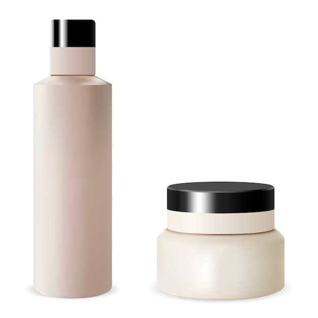 Blank Zestaw Szamponów Do Butelek Szamponu. Kosmetyk Premium Wektorów