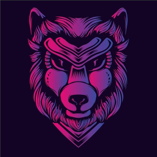 Blask grafiki głowy wilka Premium Wektorów