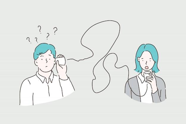 Błędna komunikacja, koncepcja komunikacji z puszką Premium Wektorów