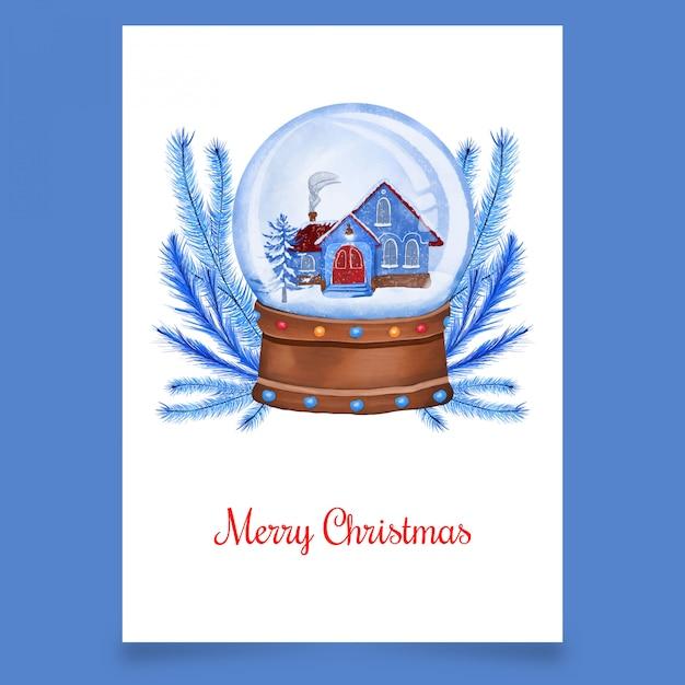 Błękita dom w śnieżnej kuli ziemskiej Premium Wektorów