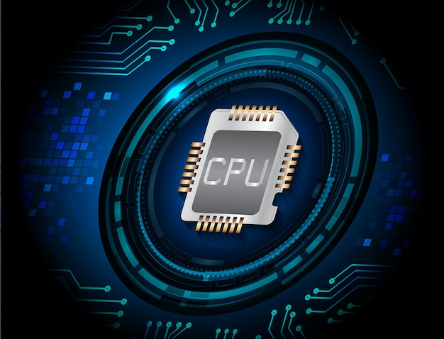 Błękitnego Procesora Cyber Obwodu Obwodu Technologii Pojęcia Przyszłościowy Tło Premium Wektorów