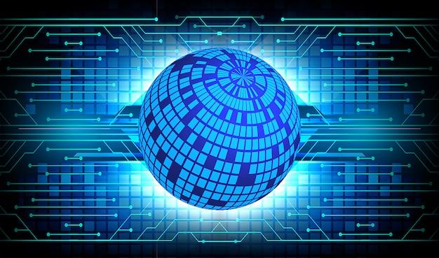 Błękitnego światowego cyber obwodu technologii pojęcia przyszłościowy tło Premium Wektorów