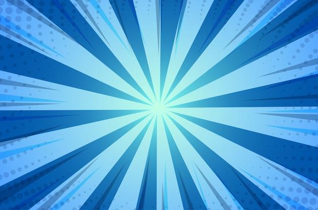 Błękitny abstrakcjonistyczny komiczny kreskówki światła słonecznego tło Premium Wektorów