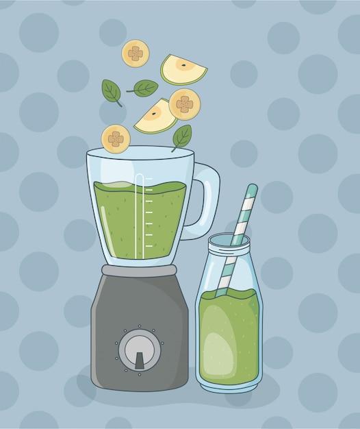 Blender Z Owocami I Butelką Zdrowy Preparat Premium Wektorów