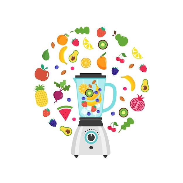 Blender Z Smoothie, Shake'iem Owocowym, Z Zestawem Wektorów Owoców I Jagód Premium Wektorów