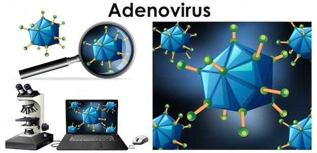 Bliska izolowany obiekt wirusa o nazwie adenowirus Darmowych Wektorów