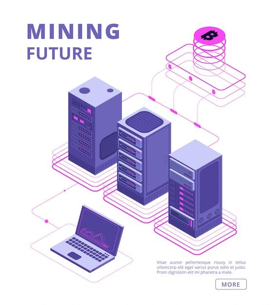 Blockchain, Handel Tokenami, Farmy Bitcoinów I Altcoinów, Bank Kryptograficzny, Koncepcja Izometryczna Wektor Ico Z Ludźmi Biznesu, Laptopem, Serwerem Premium Wektorów