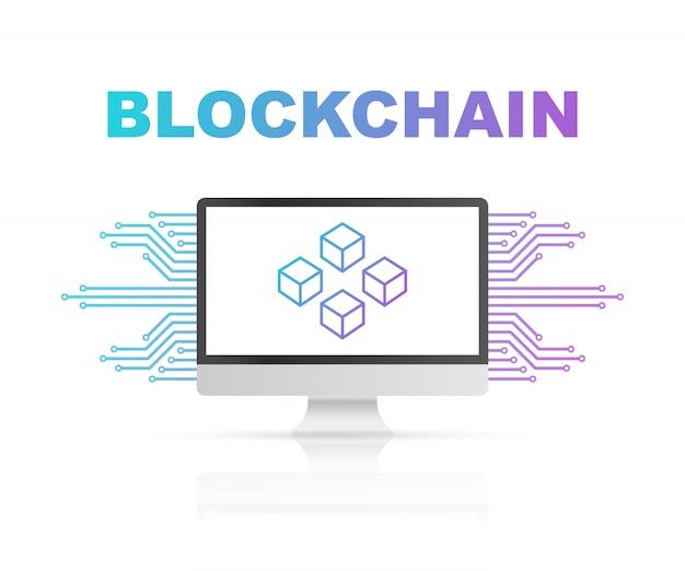 Blockchain Na Ekranie Komputera, Połączone Kostki Na Wyświetlaczu. Symbol Bazy Danych, Centrum Danych, Kryptowaluty I Blockchain Premium Wektorów