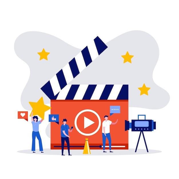 Blog Wideo, Vlog, Koncepcja Kanału Online Z Postaciami Tworzącymi Treści Wideo. Premium Wektorów