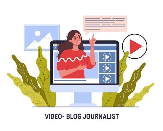 Bloger Wideo Dziennikarz. Zawód Mediów. Kobieta Udostępnia Treści Premium Wektorów