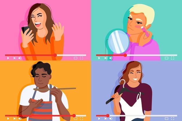 Blogerzy Na Zestawie Ilustracji Darmowych Wektorów