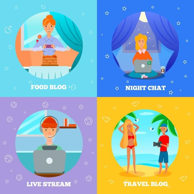 Blogerzy Postacie Popularne Tematy 4 Płaskie Ikony Kwadratowa Koncepcja Z Gotowaniem żywności Podróż Nocny Czat Darmowych Wektorów