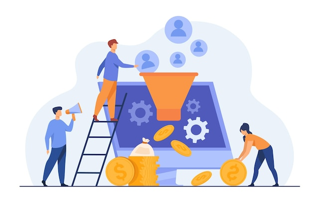 Blogerzy Przyciągają Publiczność I Zarabiają Pieniądze. Influencerzy Generujący Nowe Leady. Ilustracja Kreskówka Darmowych Wektorów
