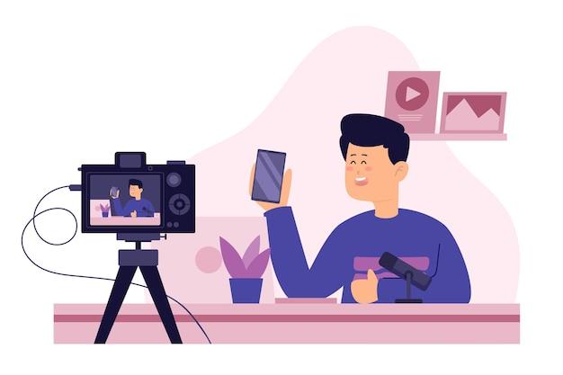 Blogger Recenzja Posiadania Smartfona Darmowych Wektorów