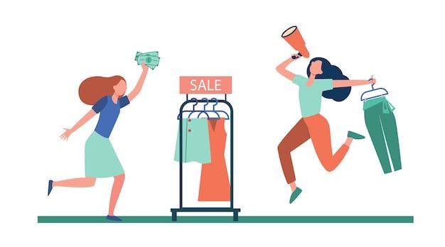 Blogger Z Megafonem Reklamowym W Sklepie Z Modą. Klient Działa Na Zakupy Ilustracja Płaski. Darmowych Wektorów