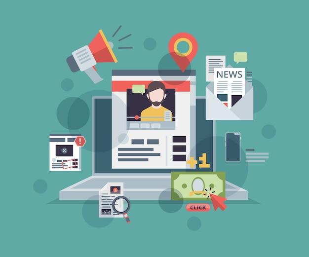 Blogowanie Internetowe. Monitoruj Za Pomocą Symboli Marketingu Treści Na Ekranie, Promuj Koncepcję Strategii Zarządzania Technologiami Cyfrowymi Na Blogu. Premium Wektorów