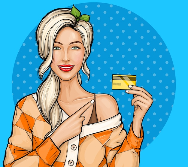 Blondynka Trzymając W Ręku Plastikową Kartę Kredytową W Stylu Pop-art Darmowych Wektorów