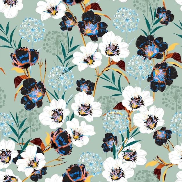 Blossom Kwiatowy Wzór W Kwitnących Wielu Rodzajach Botanicznych Motywów Premium Wektorów