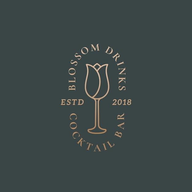 Blossom Napoje Koktajl Bar Streszczenie Wektor Znak, Symbol Lub Szablon Logo. Premium Wektorów